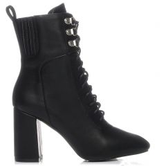 Black lace up high heel bootie