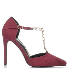 Burgundy pump with chain