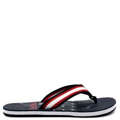 Men's navy flip-flop with fabric thong and embossed design