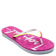Women's fuchsia flip-flop with engraved letters on insole