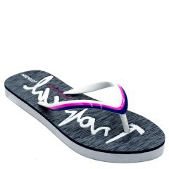 Women's grey flip-flop with engraved letters on insole