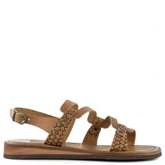 Tobacco flat leather leather sandal