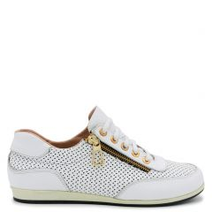 White leather sneaker with zipper