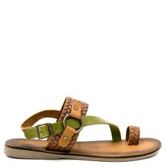 Tobacco flat leather sandal
