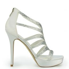 White bridal sandal with rhinestones