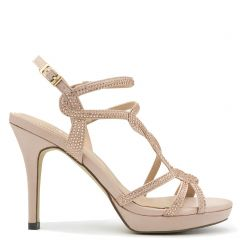 Beige high heel sandal with rhinestones