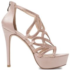 Nude high heel sandal with rhinestones