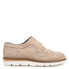 Men's beige leather Oxford