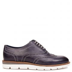 Men's navy leather Oxford