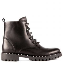 Black leather army boot with studs