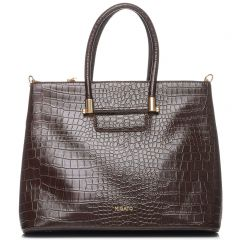 Brown croco textured shoulder bag