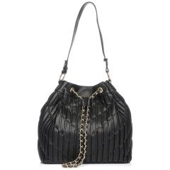 Black pleated drawstring bag