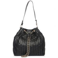 Μαύρη πλισέ τσάντα πουγκί