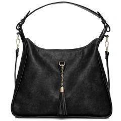 Black hobo bag with tassel