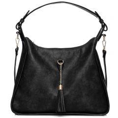 Μαύρη τσάντα hobo με φούντα
