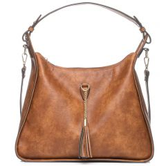 Tan hobo bag with tassel