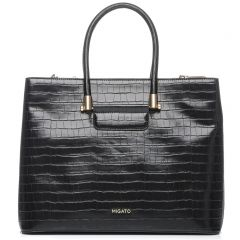 Black croco textured shoulder bag