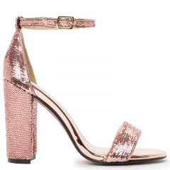 Pink gold bridal sandal with sequins