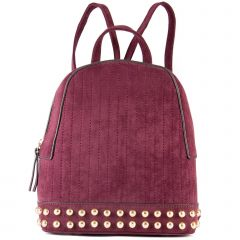 Burgundy backpack with studs