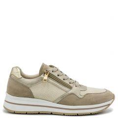 Beige sneaker in suede texture