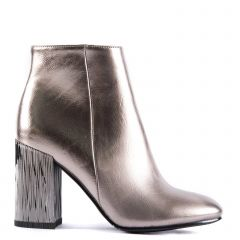Pewter high heel bootie