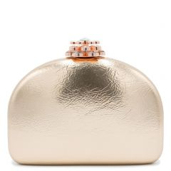 Pink gold metallic clutch with rhinestones
