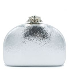 Silver metallic clutch with rhinestones