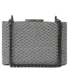 Pewter shiny square clutch