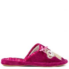 Fuchsia slipper with teddy bear