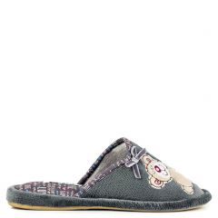 Grey slipper with teddy bear