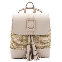 Μπεζ ψάθινο backpack