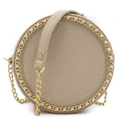 Beige round shaped crossbody bag