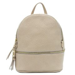 Beige backpack with embroidery