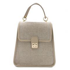 Beige linen backpack