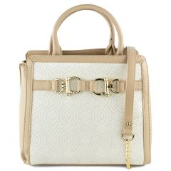 Beige handbag with buckle