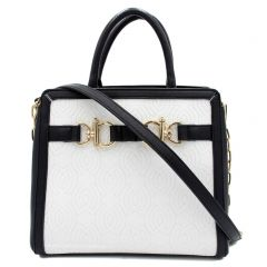 Black white handbag with buckle