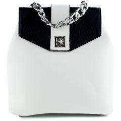 Ασπρόμαυρη τσάντα πλάτης με καπάκι