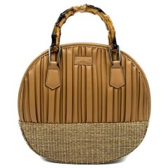 Beige round handbag with pleats