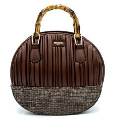 Brown round handbag with pleats