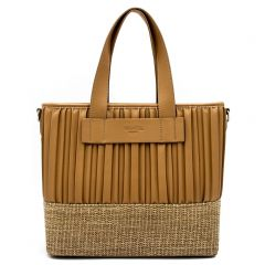 Beige shoulder bag with pleats