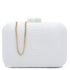 White snake textured clutch