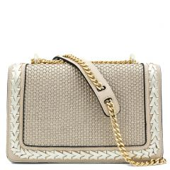 Beige woven shoulder bag