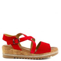 Red leather platform