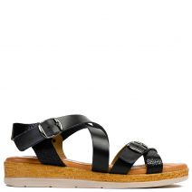 Black leather flatform with crossed straps