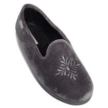 Grey velvet slipper
