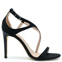 Black satin high heel sandal