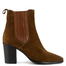 Brown leather western bootie
