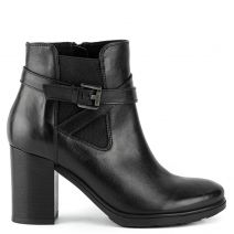 Black leather bootie with buckle