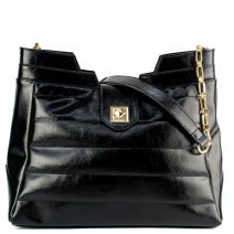 Black patent quilted bag