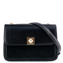 Black handbag with a flap